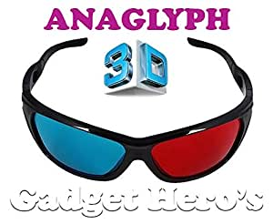 Gadget Hero's 3D Plastic Ana-Glyph Glasses Red/Blue. New Bottom Rimless Sports Style. For AnaGlyph 3D Content Only.