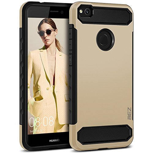 BEZ Coque pour Huawei P8 Lite 2017, Housse Etui Antichoc Huawei P8 Lite 2017 Robuste Double Protection Resistante, Or