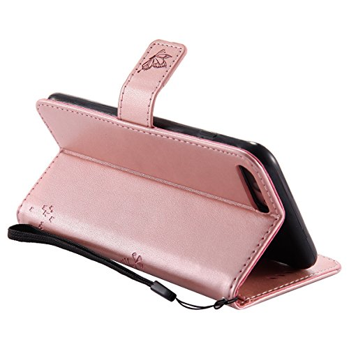 Hülle für iPhone 7 Plus, Tasche für iPhone 7 Plus, Case Cover für iPhone 7 Plus, ISAKEN Blume Schmetterling Muster Folio PU Leder Flip Cover Brieftasche Geldbörse Wallet Case Ledertasche Handyhülle Ta Baum Katze Rosegold
