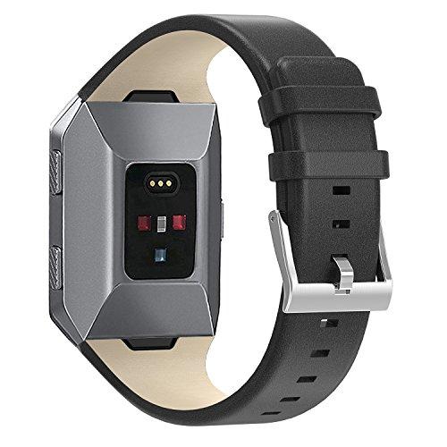 Armband Fur Fitbit Ionic,SnowCinda Verstellbares Ersatzarmband Unisex Leder Uhrenarmband Fitness Zubehorteil mit Metallschliese Fur Fitbit Ionic Fur Fitbit Ionic Schwarz S