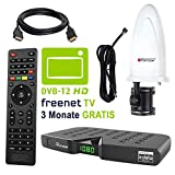 HB DIGITAL DVB-T/T2 Set: Skymaster DTR5000 DVB-T/T2 Receiver, kartenloses Irdeto-Zugangssystem für freenet TV + Opticum Optima HD750 Aktive Antenne (HEVC/H.265 HDTV HDMI Ethernet USB DVBT2 DVB-T2)