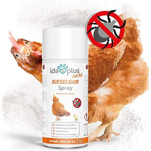 Ida Plus - Kieselgur Milben Spray - 400 ml - Mittel gegen Vogelmilben, Ameisen, Flöhe & Insekten - Insektenspray für den Hühnerstall, Garten & Haus - für Hühner, Geflügel, Kaninchen & Hunde -