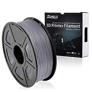 SUNLU PLA Plus filament, 1.75mm 3D Printing Filament Low Odor, Dimensional Accuracy +/- 0.02 mm, 2.2 LBS (1KG) Spool 3D Filament,Grey PLA+