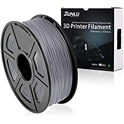 SUNLU 3D Printer Filament PLA Plus Grey (Silver grey),PLA Plus Filament 1.75 mm, Low Odor Dimensional Accuracy +/- 0.02 mm 3D Printing Filament,2.2 LBS (1KG) Spool 3D Printer Filament for 3D Printers & 3D Pens,Silver grey