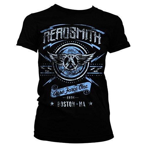 Aerosmith - Aero Force One Distressed Official Women T-Shirt (Black), Large