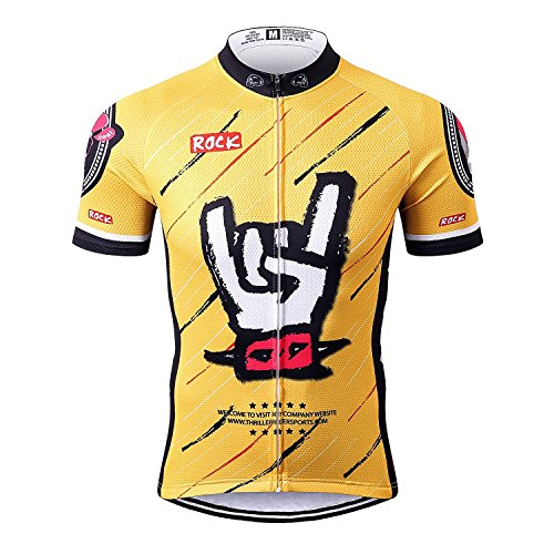 Thriller rider sports® uomo rock music yellow sport e tempo libero abbigliamento ciclismo magliette manica corta x-large