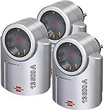 3 Stück Brennenstuhl Primera-Line, Steckdosenadapter mit Überspannungsschutz (Adapter als Blitzschutz für Elektrogeräte) Farbe: silber/schwarz