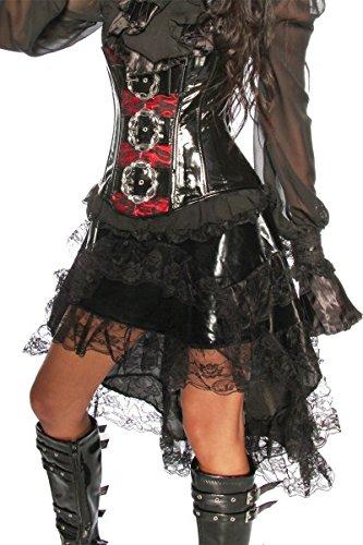 Rock Volant-Rock mit Spitze schwarz, Größe Atixo:M (Billig Nuttig Kostüm)
