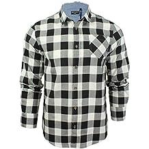 Brave Soul Uomo JackD Camicia A Quadri Design Chambray Dettaglio Top In Cotone