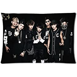 Custom BTS Korean Boy Band Cotton & Polyester Soft Zippered Rectangle Pillowcase Standard Size (20*30)(Twin sides)