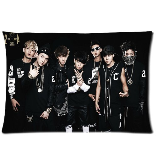Custom BTS Korean Boy Band Cotton & Polyester Soft Zippered Rectangle Pillowcase Standard Size (20*30)(Twin sides)