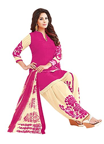 Ishin Synthetic Pink & Beige Printed Unstitched Salwar Suit Dress Material (Anarkali/Patiyala)...