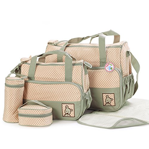 5pcs-baby-nappy-changing-diaper-bag-set-1pcs-special-bag-organiser-by-babyhugs-6pcs-in-total-sage-gr