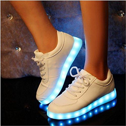 Skateboard LED Chaussures Blanc - LATH.PIN Blanc Unisexe 7 Couleur d'Eclairage LED Lumiere USB Charge Lumineux Clignotants Chaussures de Skateboard Blanc
