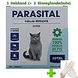 Collar Antiparásitos Gatos (+ 1 par de Guante de látex), Pulgas, Garrapatas, Mosquito flebotomo Anti LEISHMANIASIS para Gatos, Repelente 100% Natural, Collar parasital