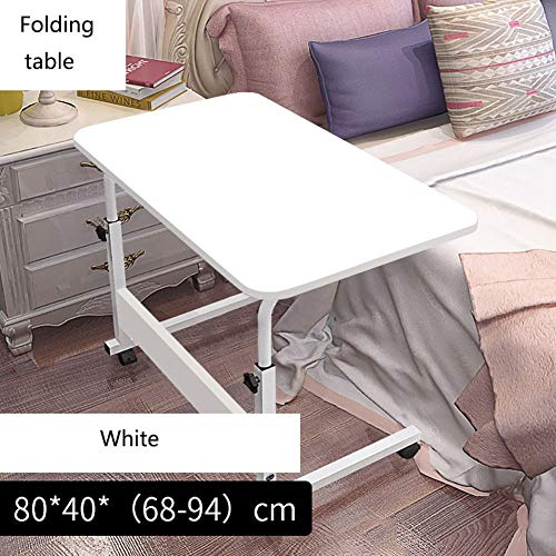 Fishroll Faltbarer Laptop-Tisch aus Holz mit Verstellbarer Höhe Beine aus Holz für Schlafzimmer, faltbar, quadratisch, Computer-Schreibtischrad und, weiß, 60 * 40cm -