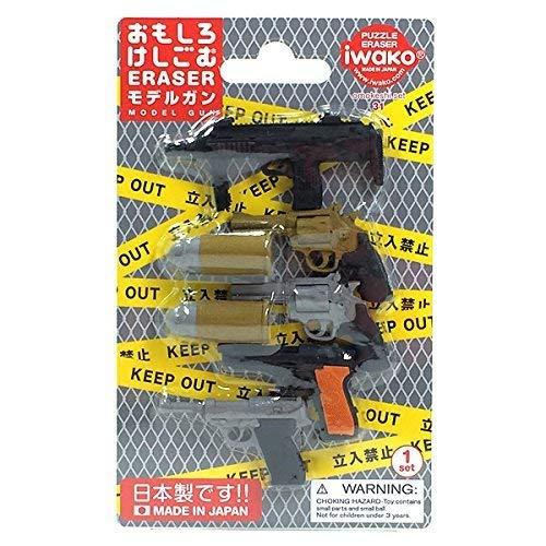 Iwako Modelo Pistolas pistola revólver automático balas de ametralladora borradores japonés Blister...