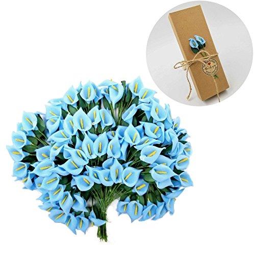 Jzk 144 piccolo bouquet calla finta blu fiore finti fiorellini bomboniera decorazione scatola confetti regalo matrimonio compleanno battesimo natale