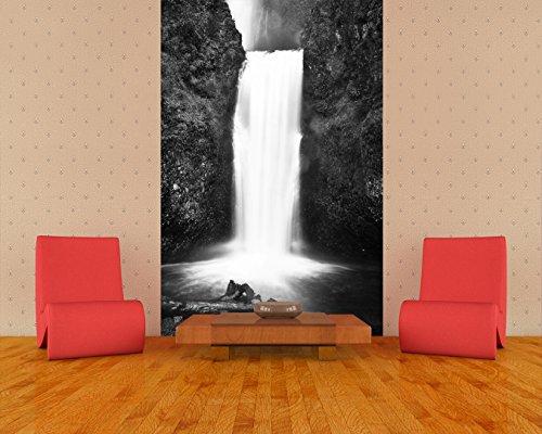 Vlies Fototapete - Multnomah Falls in Oregon - USA - schwarz weiss - 180x270 cm- inklusive Kleister - Tapetenkleister – Bild auf Tapete – Bildtapete – Foto auf Tapeten – Wand – Wandtapete – Vliestapete – Wanddeko - Design