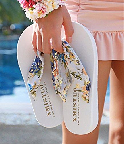 Di Stampati Wealsex Donna Bohemien Festa Bianco Raso Sandali Colorata Offset Infradito Spiaggia cI01FWIr