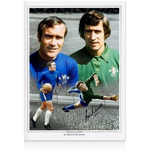 Ron Harris y Peter Bonetti Chelsea foto firmada a mano