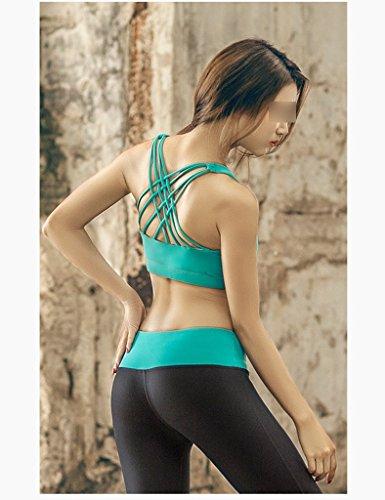 ZCJB Yoga Vest The Gym Running Bra Antiurto Nessun Bordo Traspirante ( Colore : Ciano , dimensioni : L. ) Ciano