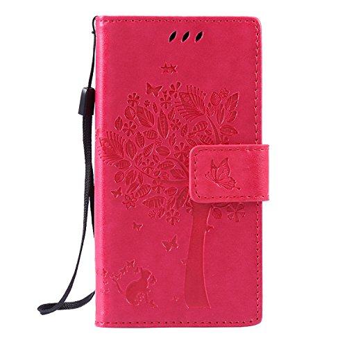 Cozy Hut Sony Xperia Z3 Mini Hülle, Premium Leder Flip Case im Bookstyle Folio Cover Kartenfächer Magnetverschluss und Standfunktion Leder Schale Etui für Sony Xperia Z3 Mini - Rose Red