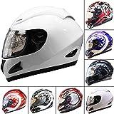 Leopard LEO-818 Full Face Helmet Scooter Motorcycle Motorbike Crash Helmet White XL