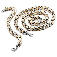 MunkiMix 9mm Wide Stainless Steel Bracelet Necklace Link Byzantine Chain Set Silver Gold Biker Men