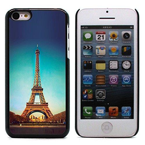 Graphic4You Paris At Night Skyline View Postkarte Ansichtskarte Design Harte Hülle Case Tasche Schutzhülle für Apple iPhone 5C Design #9