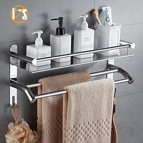 Homfa Bad Regale Edelstahl Handtuchhalter Handtuchablage mit Ablage und doppelten Badetuchstangen mit Haken Ohne Bohren 50 * 23 * 14 cm