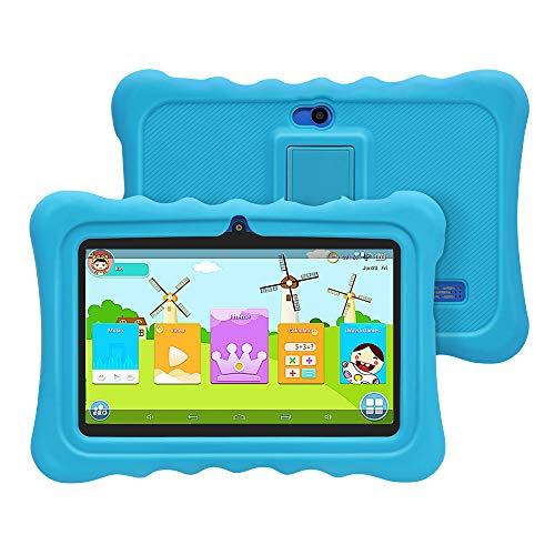 [ 2019 Upgrade] YUNTAB Q88H 7-Zoll-Kinder-Tablet mit Parent-Control-Kinder-APP, Android 4.4,1 GB RAM + 8 GB ROM, Allwinner A33 Quad-Core 1,5 GHz, Dual-Kamera, WLAN und Bluetooth (Blau)