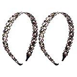 sourcingmap® Textil Geflochten Wellen Haarband Haarreifen Stirnband Ornament 2 STÜCK