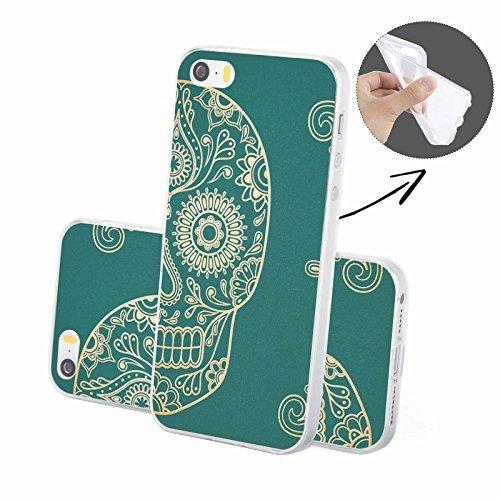 FINOO | Silikon-Handy-Case für iPhone 5 / 5S | weiche, transparente, flexible Silikon-Handy-Hülle mit verschiedenen modernen Motiven für Apple Smartphone | Newton Henna Totenkopf Seite