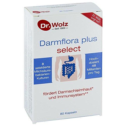 Darmflora plus select Dr. Wolz   widerstandsfähige, selektierte Milchsäurebakterien   hochdosierte Bakterienkulturen 48 Mrd/Tag   8 probiotische Kulturen   vegan   80 Kapseln