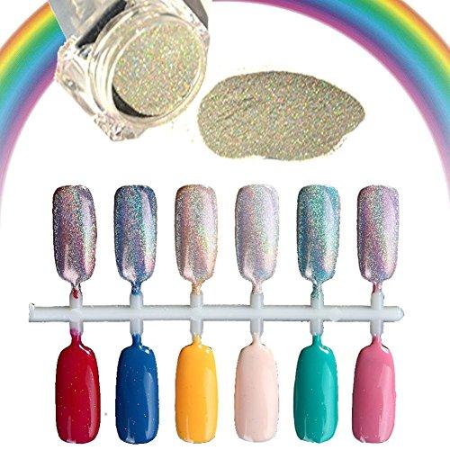 Amlaiworld 1,5 g/Box Polvere di chiodo olografico arcobaleno Glitter Nail Chrome del laser