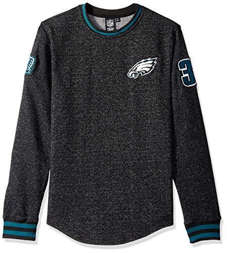 Icer Brands NFL Philadelphia Eagles Herren Fleece-Sweatshirt, langärmelig, Rippenstrickmuster, Größe L, Schwarz American Eagle Sweatshirt