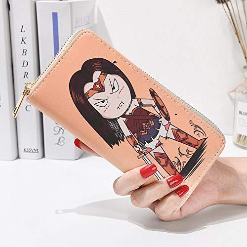 Billetera Wallet Purse Cartera de Estudiante de Anime de Dibujos Animados Pintados A Mano con Cremallera Bolsa de 19X10X4.6cm Wonder Woman