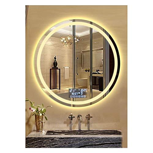 JHHXW Specchio da Bagno a LED Tondo a LED Specchio for Trucco Multifunzione antiappannamento Smart da Parete a Parete, Luce Calda (Color : C, Size : 80cm)