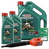 2x 1 L + 5 L = 7 Liter Castrol Magnatec Diesel 5W-40 DPF Motor-Öl inkl. Ölwechsel-Anhänger und Einfülltrichter