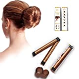 HS Pure High Quality Fashion Women Magic Hair Bun Maker Tool - For Donut, Doughnut, Bun, French Twist - Girls School Hair Styling Curler - Curling DIY Clip - For Party Wedding Yoga Running Dancing Work and Daily Life (Light Coffee)