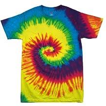123t Tie Dye - Camiseta de manga corta, sencilla, diseño de arcoíris con técnica de teñido anudado (varios colores), tallas S, M, L, XL y 2XL