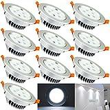 Hengda HIGH QUALITY 10er Pack 5W Einbauleuchte Kaltweiß LDE Lampen Deckenspots mit Schwenkbar Einbaustrahler Deckenleuchten für küche