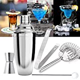 sinbide® Cocktail Shaker Set Stainless Steel Shaker 3 pezzi Cocktail Shaker Mixer con filtro 750 ML + Acciaio Inox misurino + paglia cucchiaio + ghiaccio clip + ghiaccio Filtro 5 PZ