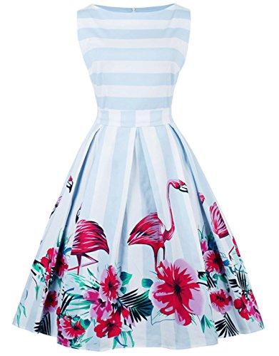 FAIRY COUPLE 50s Retro Blumen Cocktail Schwingen Party Kleid mit Bogen DRT017(3XL,Blauer Flamingo) -