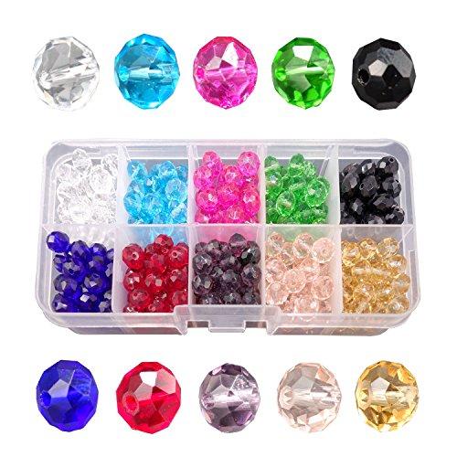 phivuti 6mm 600Stück Kristall Glas lose Perlen für Schmuckherstellung Briolette facettierte Rondell Form 10Farbe sortiert mit Container Box, 8 mm (Rondell Facettiert 6mm)