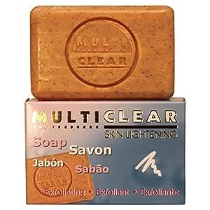 Jabón exfoliante aclarador. MULTICLEAR – 100g. Antimanchas y Antiacne. Con semilla de Melocotón. Combate puntos negros y…
