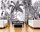 ACYKM 3D Murale d'un papier peint Vintage peint à la main mur noir et blanc idiot Tufts Jungle Mural TV de fond de papier 200x140CM