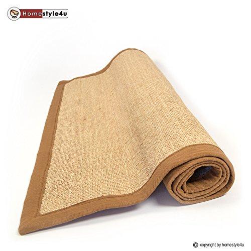 Sisal Teppich Bordürenteppich Teppich Sisalteppich Naturfaser braun 70 x 140 cm