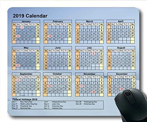 Yanteng Alfombrilla de ratón Calendario 2019 para Juegos, Mes Calendario Alfombrilla de...